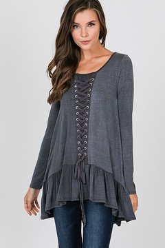 CY Fashion Grommet Lace Up Long Sleeve Top - Product List Image