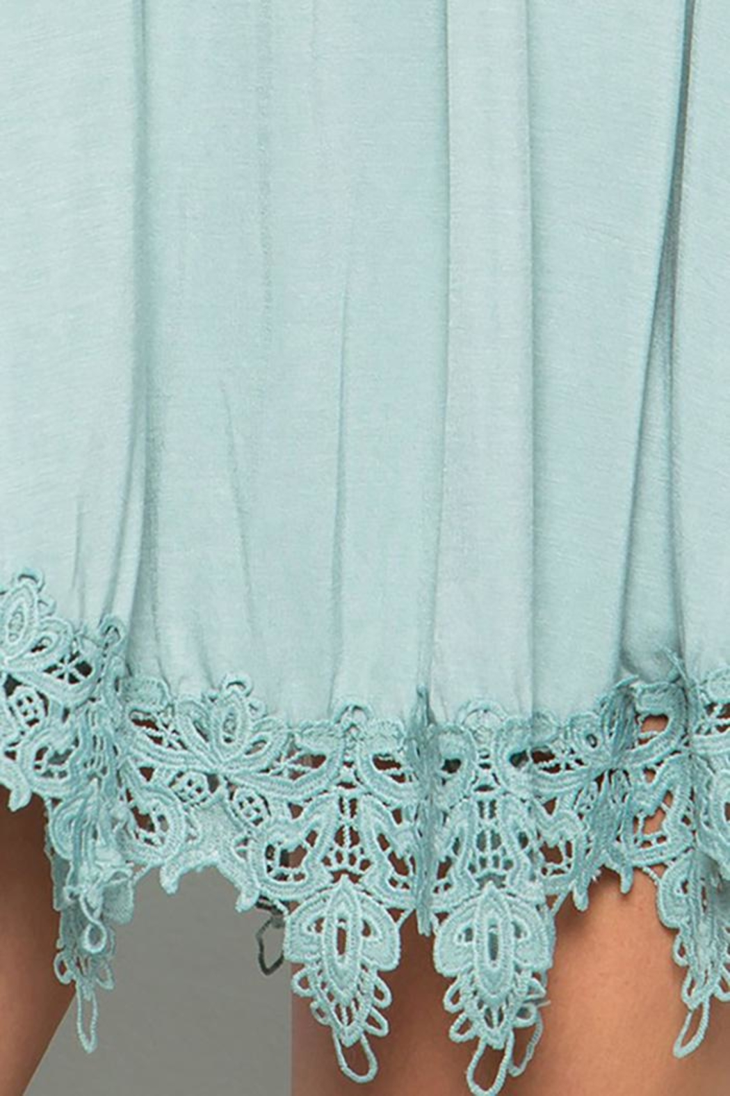 CY Fashion Lace Trim Detail Cold Shoulder Top - Front Full Image