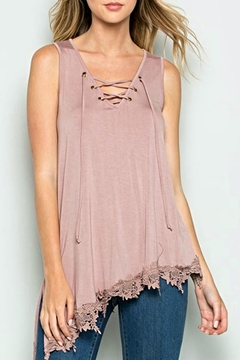 CY Fashion Lace-Up Crochet-Trim Top - Product List Image