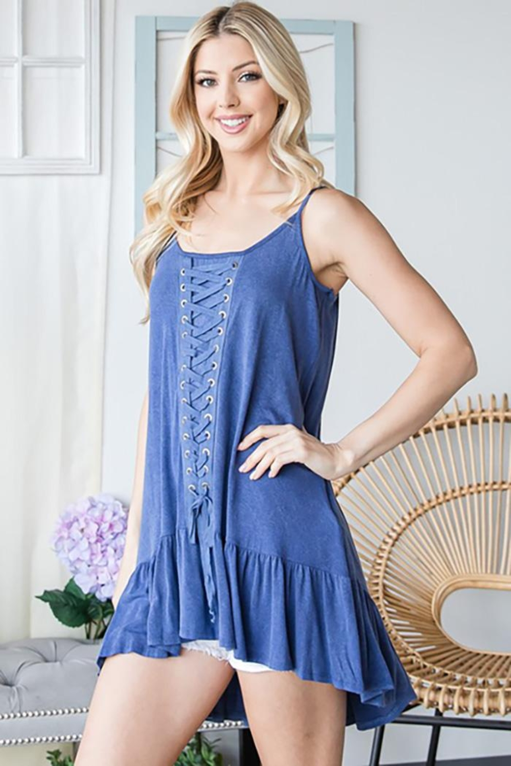 CY Fashion Lace Up Tiered Sleeveless Tank Top - Main Image