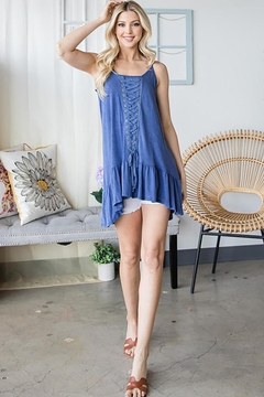 CY Fashion Lace Up Tiered Sleeveless Tank Top - Alternate List Image