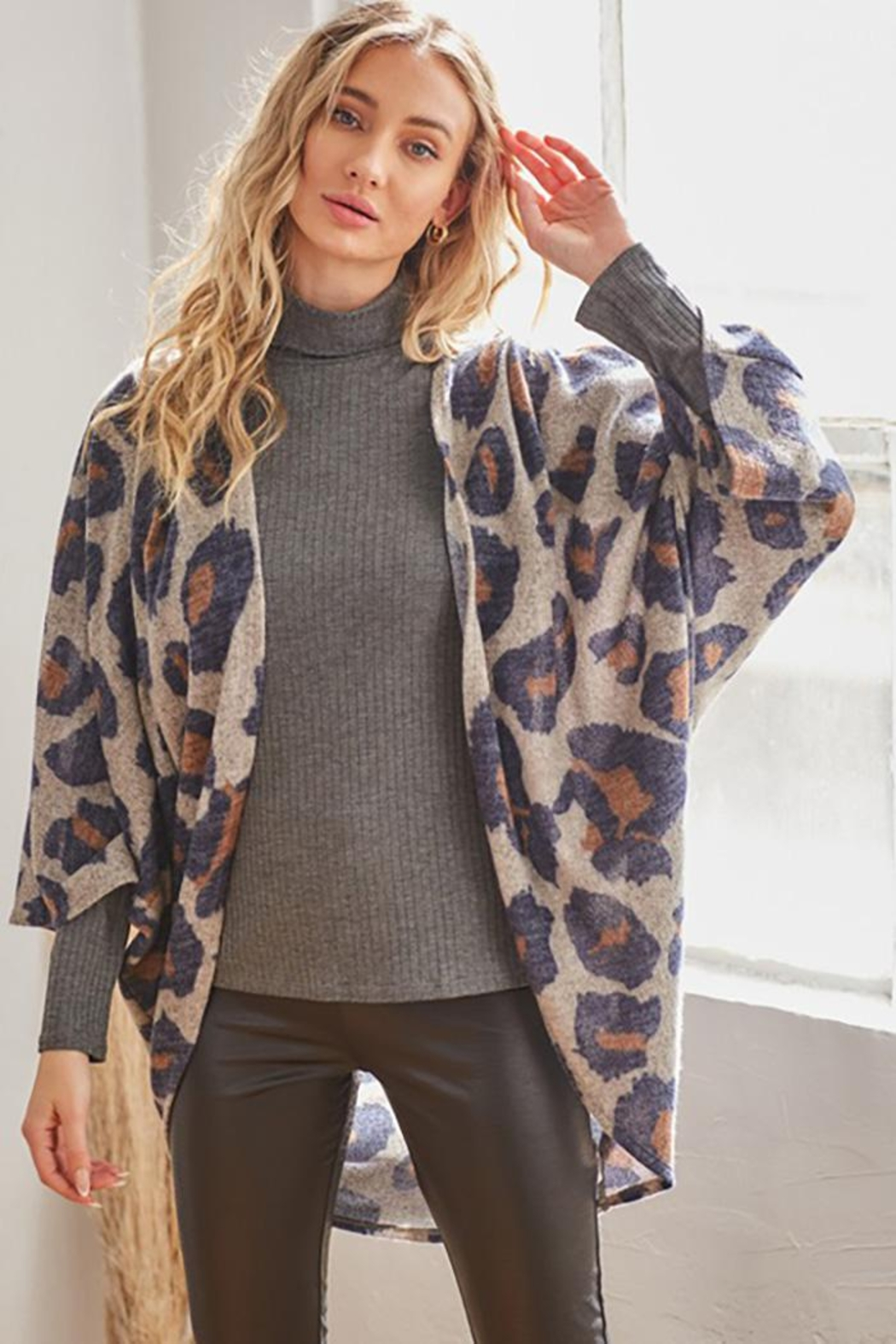 CY Fashion Long Sleeve Open Front Leopard Print Sweater Cardigan - Main Image