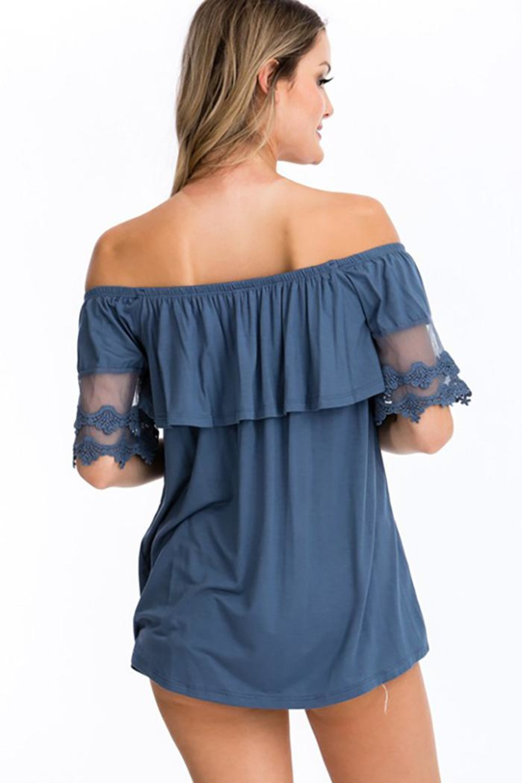 CY Fashion Off Shoulder Ruffled Top With Crochet Lace Detail - Front Full Image