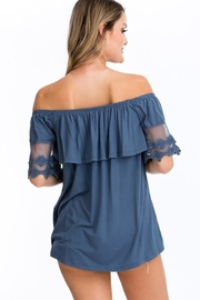 CY Fashion Off Shoulder Ruffled Top With Crochet Lace Detail - Front full body