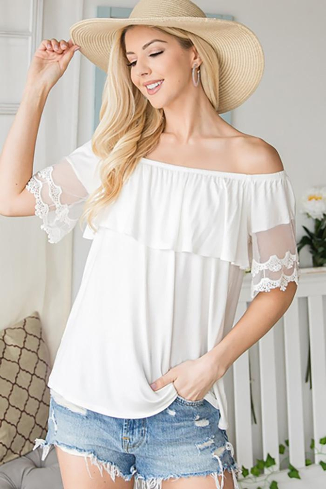 CY Fashion Off Shoulder Top Lace Detail - Front Cropped Image