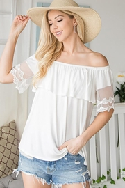 CY Fashion Off Shoulder Top Lace Detail - Front cropped