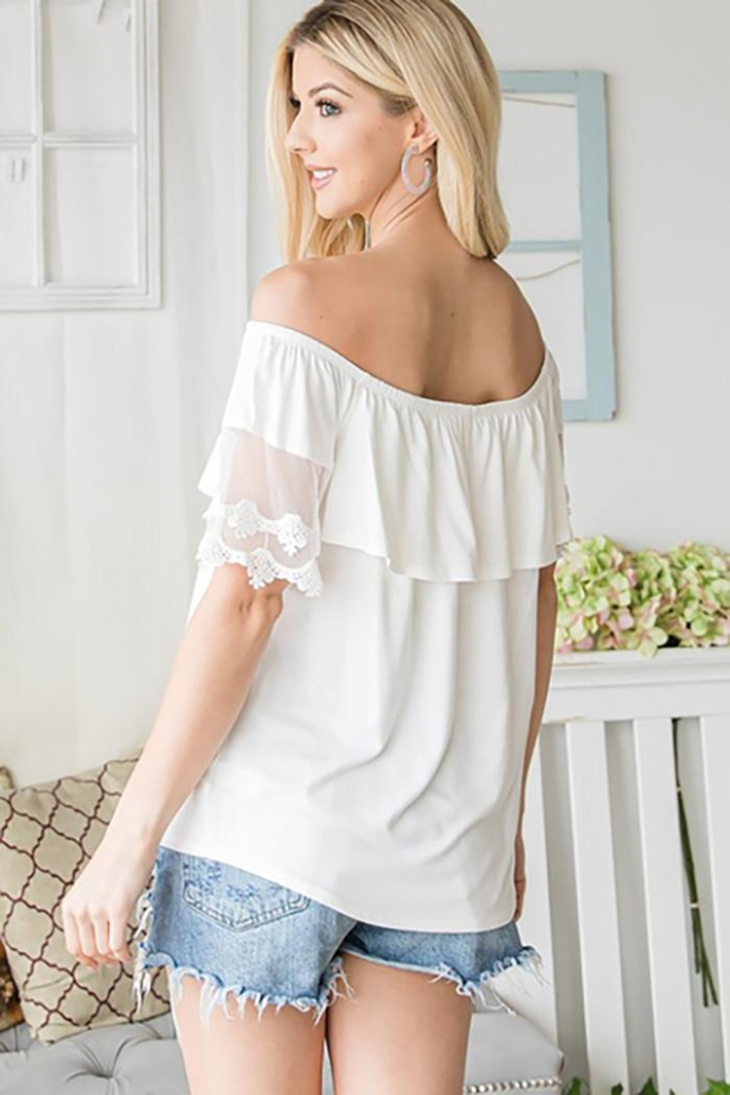CY Fashion Off Shoulder Top Lace Detail - Front Full Image