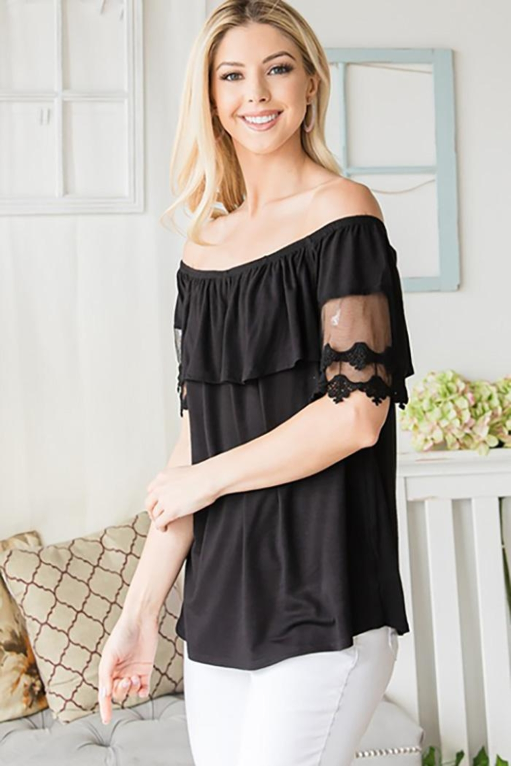 CY Fashion Off Shoulder Top Lace Detail - Back Cropped Image