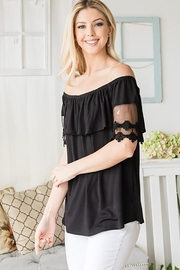 CY Fashion Off Shoulder Top Lace Detail - Back cropped