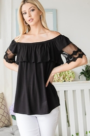 CY Fashion Off Shoulder Top Lace Detail - Product Mini Image