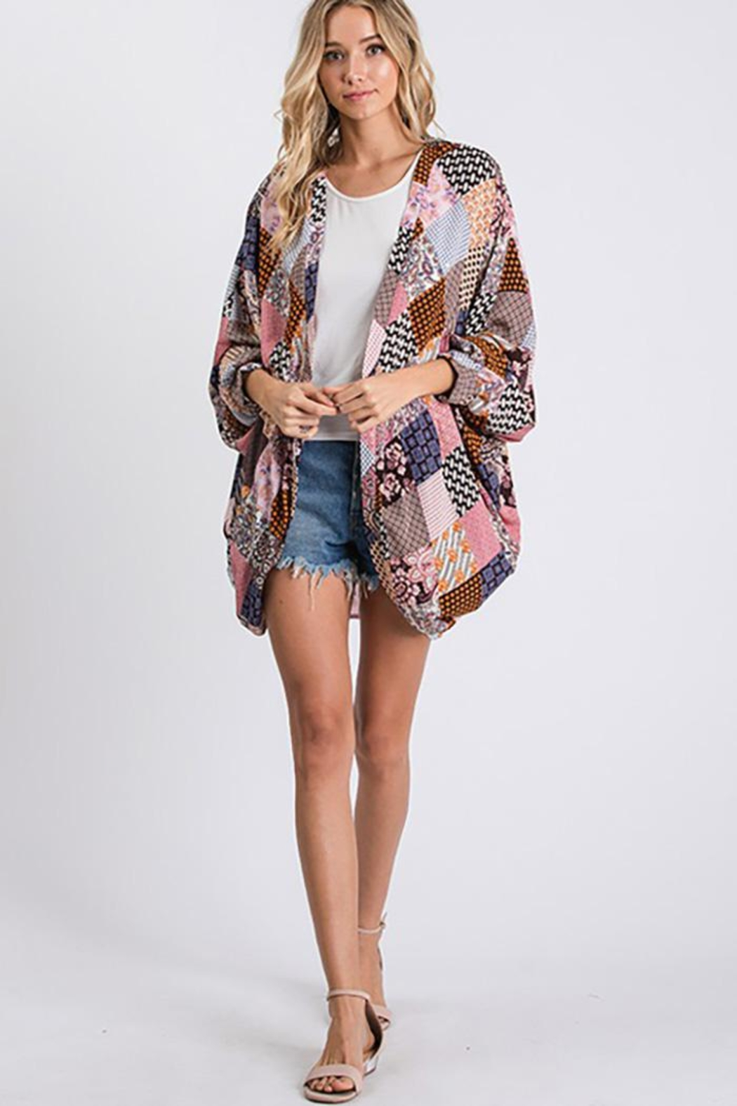 CY Fashion Open Front Kimono Cardigan - Side Cropped Image