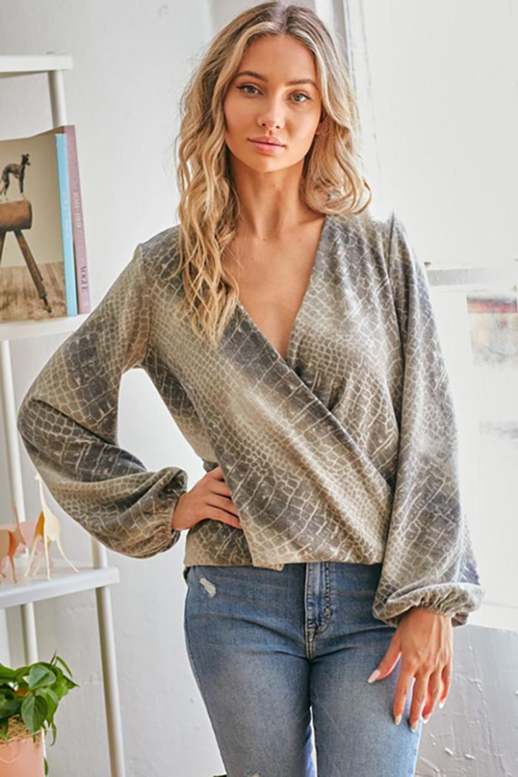 CY Fashion Snake Print Top Puff Sleeves Front Cross Layered - Main Image