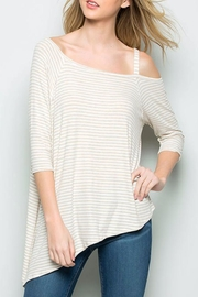 CY Fashion Stripe Asymetrical Tee - Front cropped