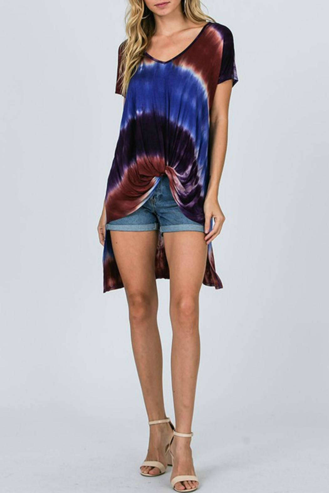 CY Fashion Tie-Dye High-Lo Top - Front Full Image