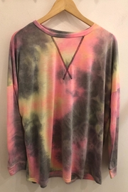 CY Fashion Tie-Dye Print Round Neck Casual Top - Product Mini Image