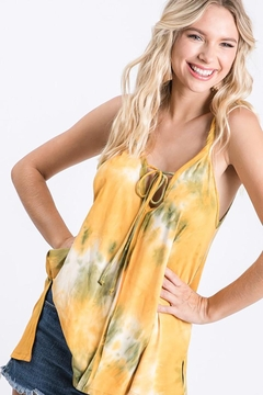 CY Fashion Tie Dye Top Front Self Tie Detail - Product List Image