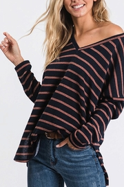 CY Fashion V-Neck Striped Sweater - Product Mini Image