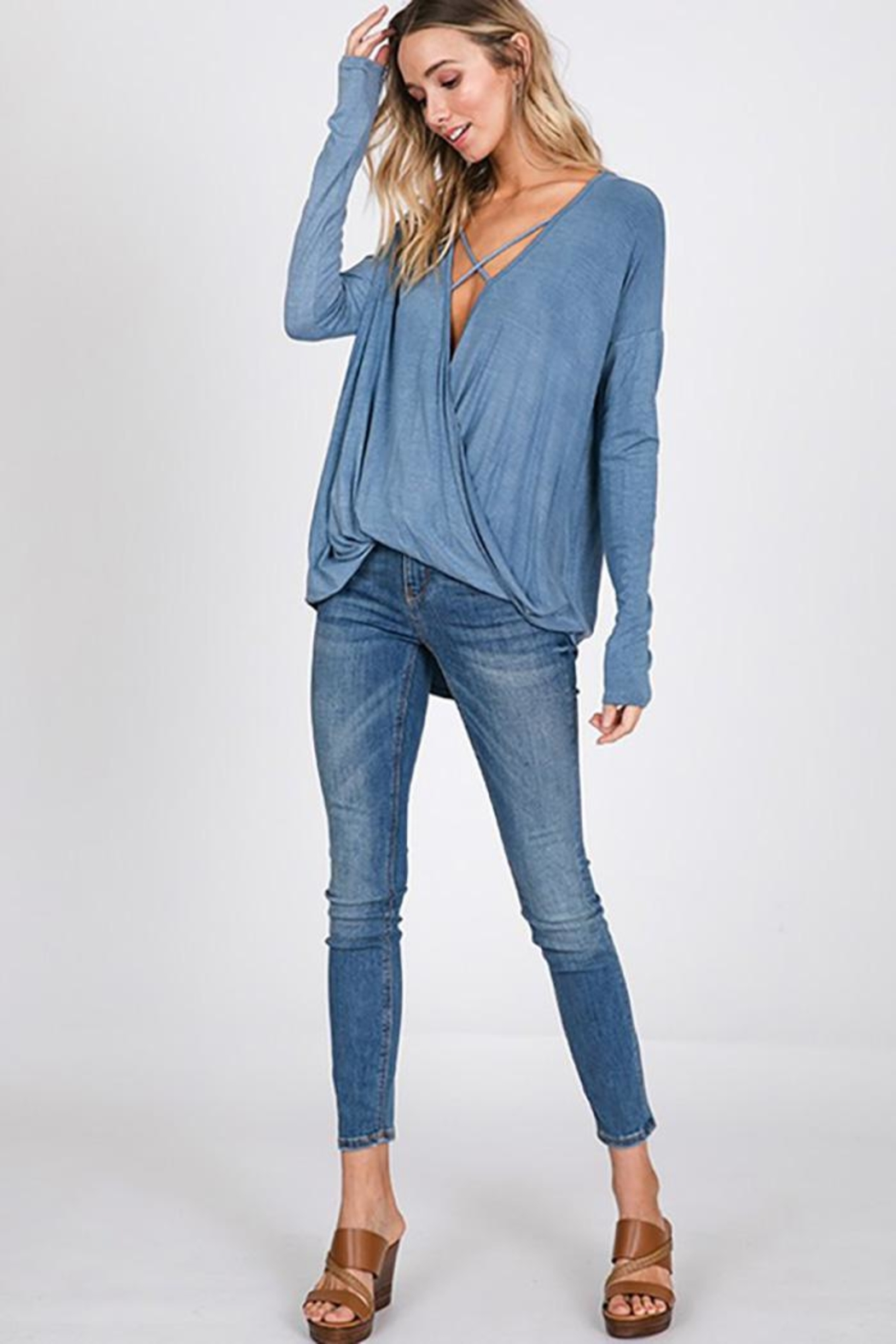CY Fashion Washed Front Cross Detail Top - Front Full Image
