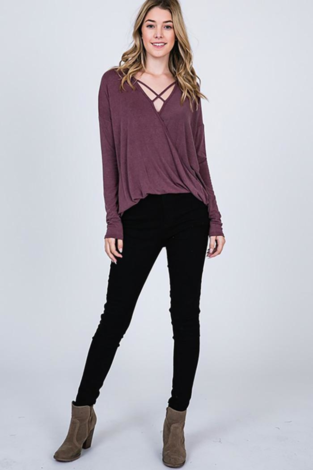 CY Fashion Washed Front Cross Detail Top - Side Cropped Image