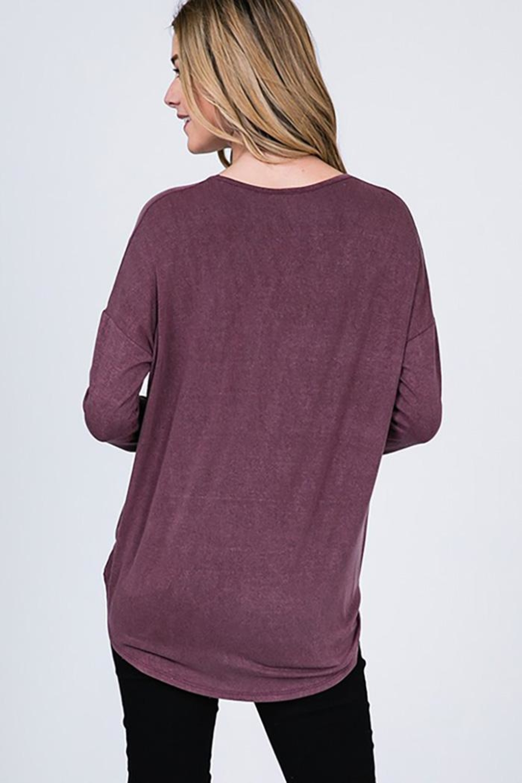 CY Fashion Washed Front Cross Detail Top - Back Cropped Image