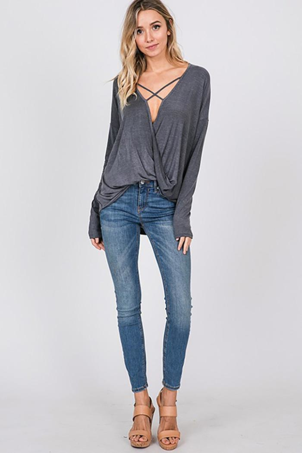 CY Fashion Washed Front Cross Detail Top - Front Cropped Image