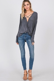 CY Fashion Washed Front Cross Detail Top - Front cropped
