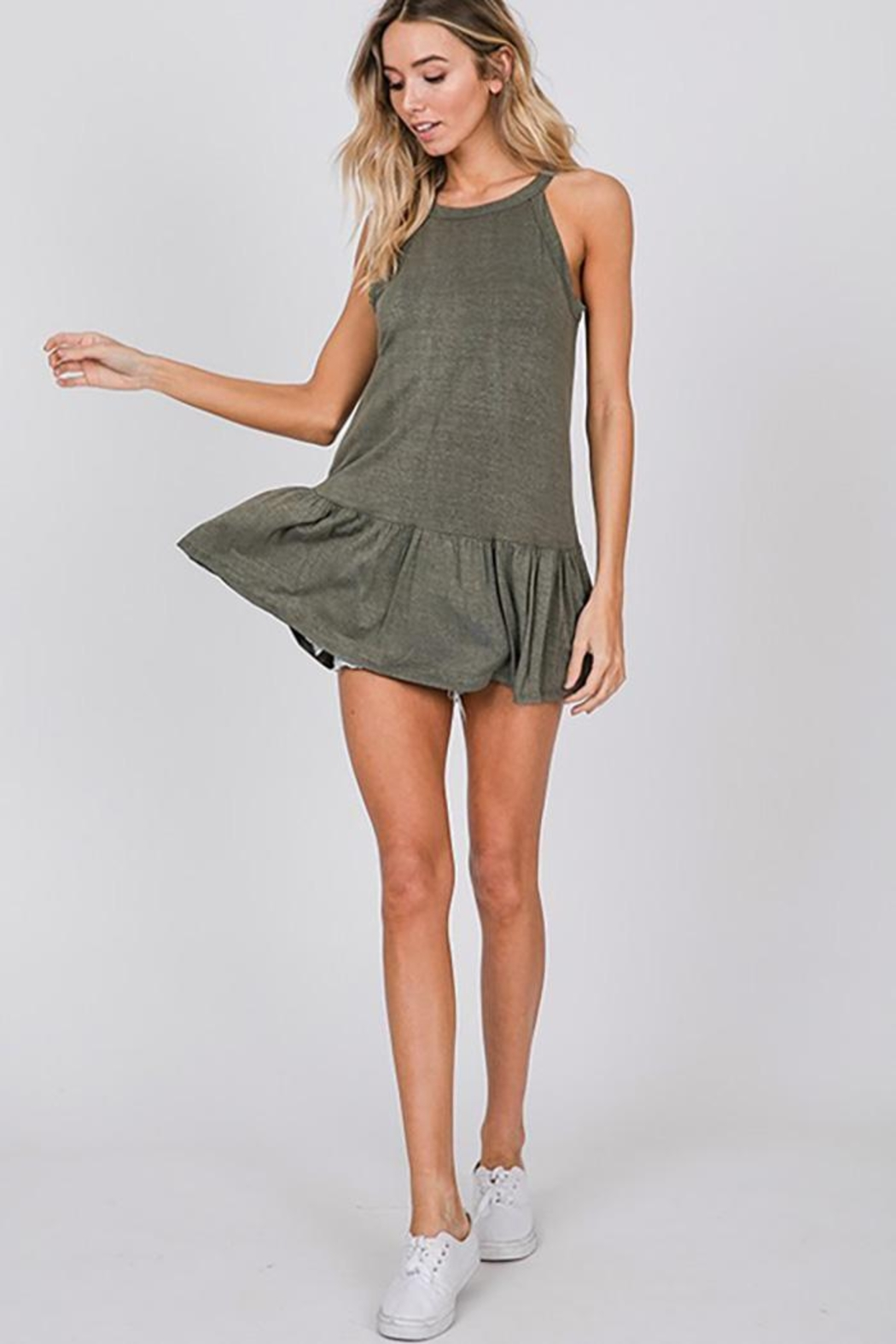 CY Fashion Washed Sleeveless Top With Ruffled Hem - Front Cropped Image