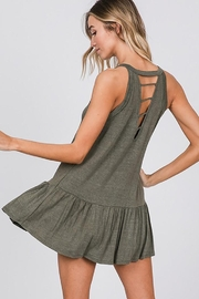 CY Fashion Washed Sleeveless Top With Ruffled Hem - Front full body