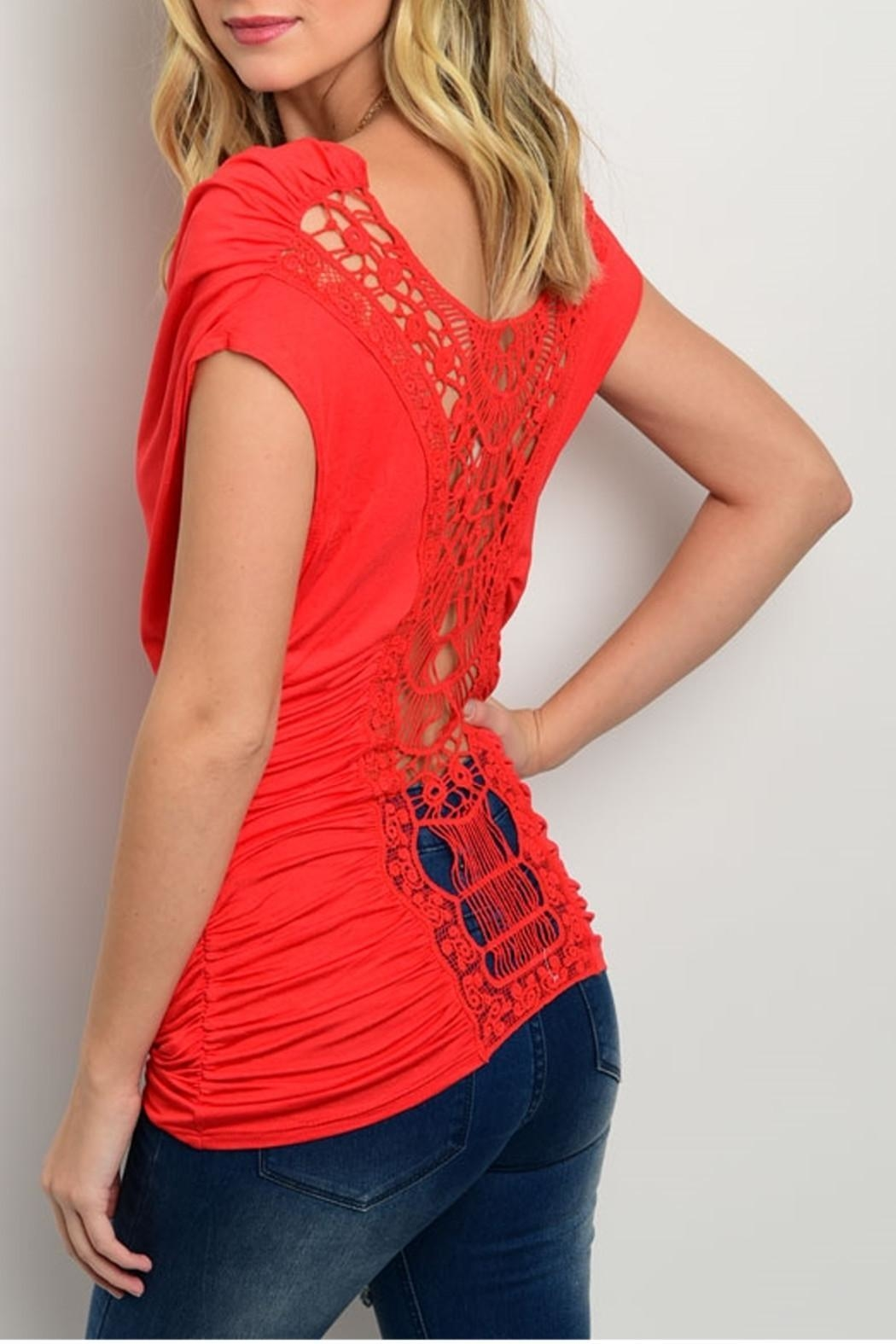CY USA Draped Crochet Top - Front Full Image