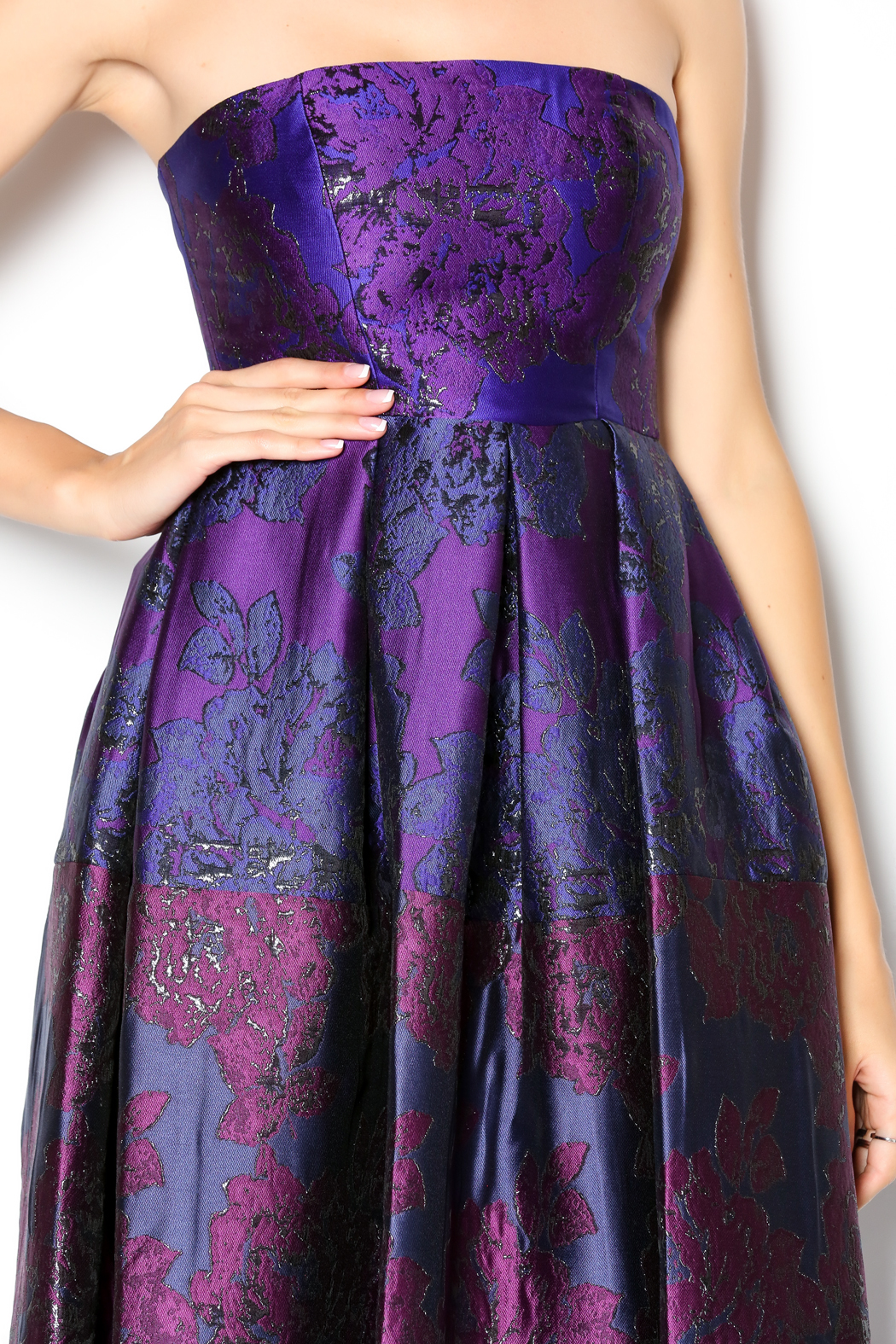 Cynthia Rowley Strapless Patchwork Tea Dress Side Cropped Image