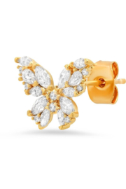 Tai CZ Encrusted Butterfly Studs - Product Mini Image
