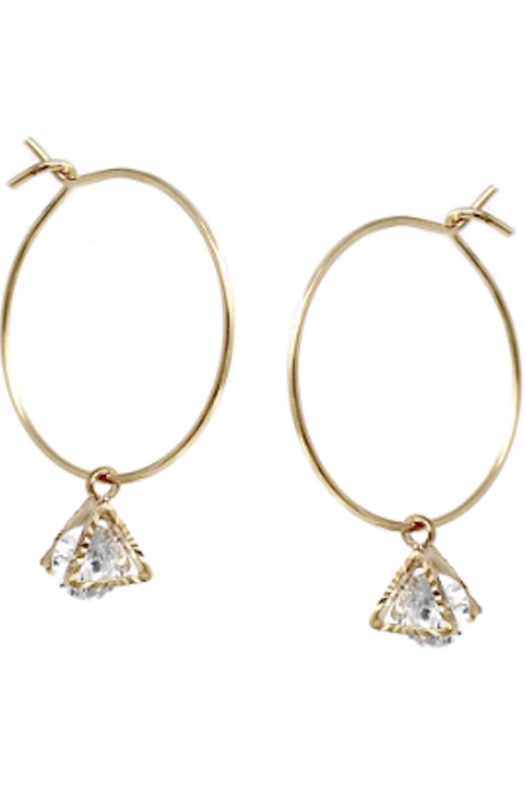 US Jewelry House CZ Hoop Earrings - Front Cropped Image