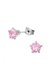 Silver Jewels CZ Pink Crystal Star Stud Earrings - Product Mini Image