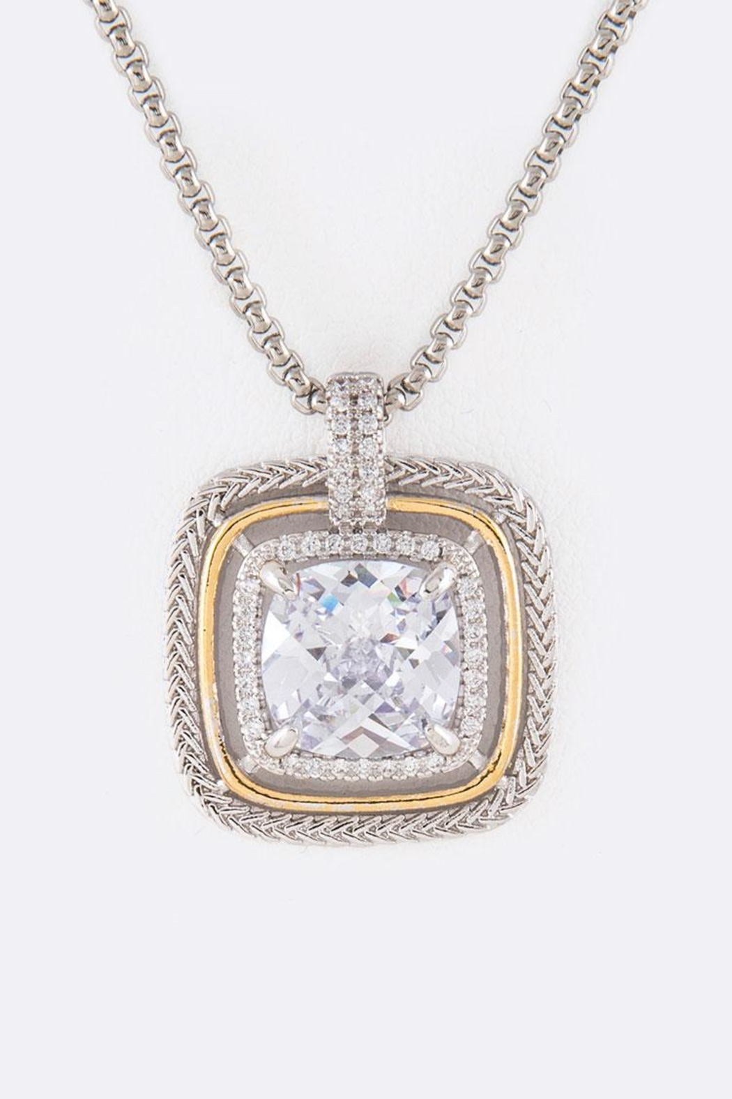 Nadya's Closet Cz Square-Pendant Necklace - Front Cropped Image