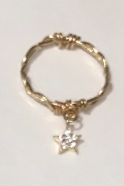 L & A Visionary Creations jewelry CZ Star Charm Ring - Front full body