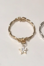 L & A Visionary Creations jewelry CZ Star Charm Ring - Front cropped