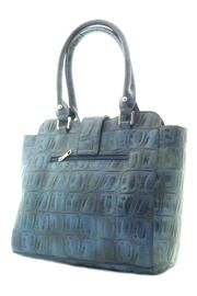 d'Orcia Blue Croc Bag - Front full body