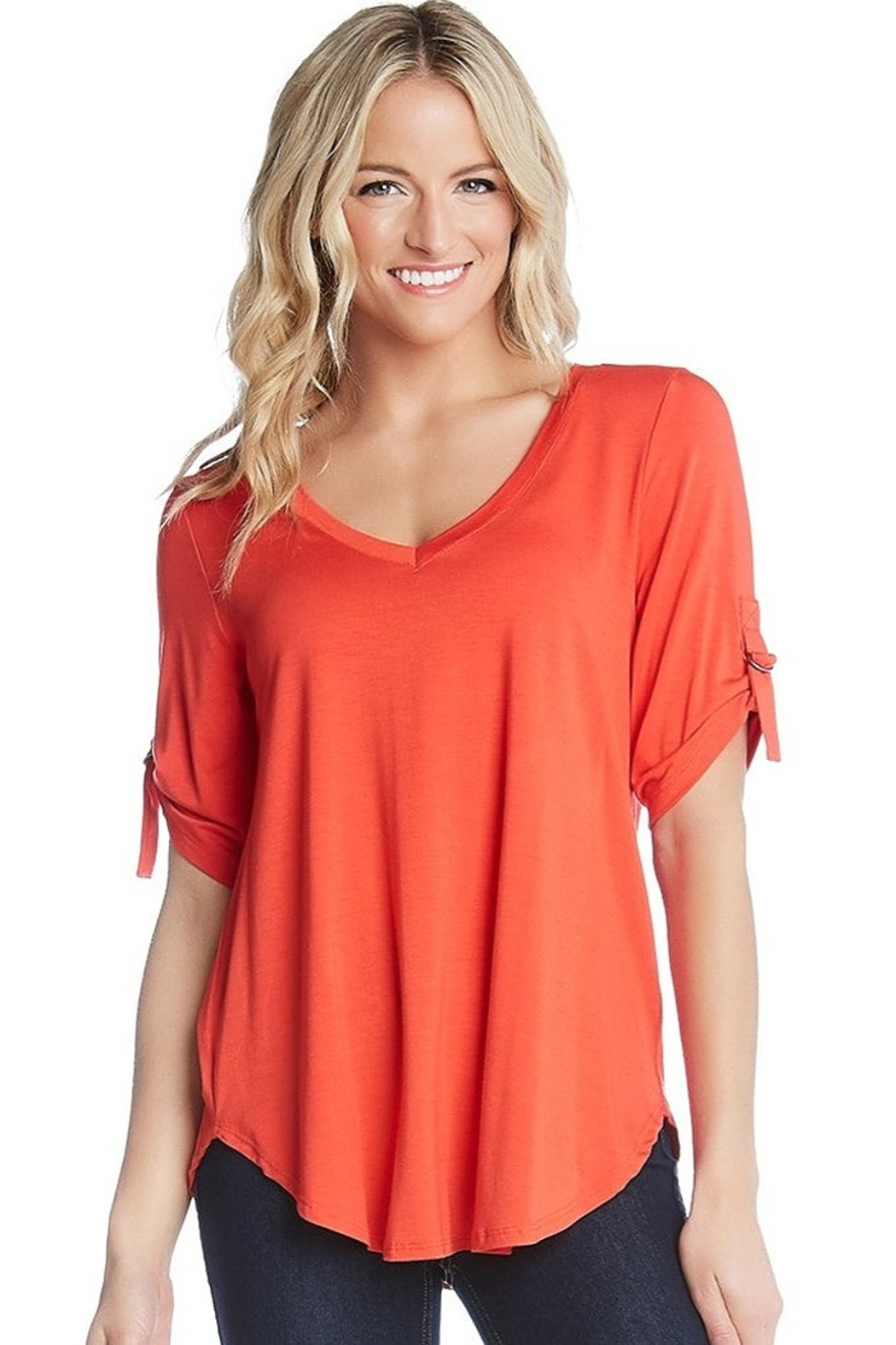 Karen Kane D Ring Detailed Top in Orange or Yellow - Main Image