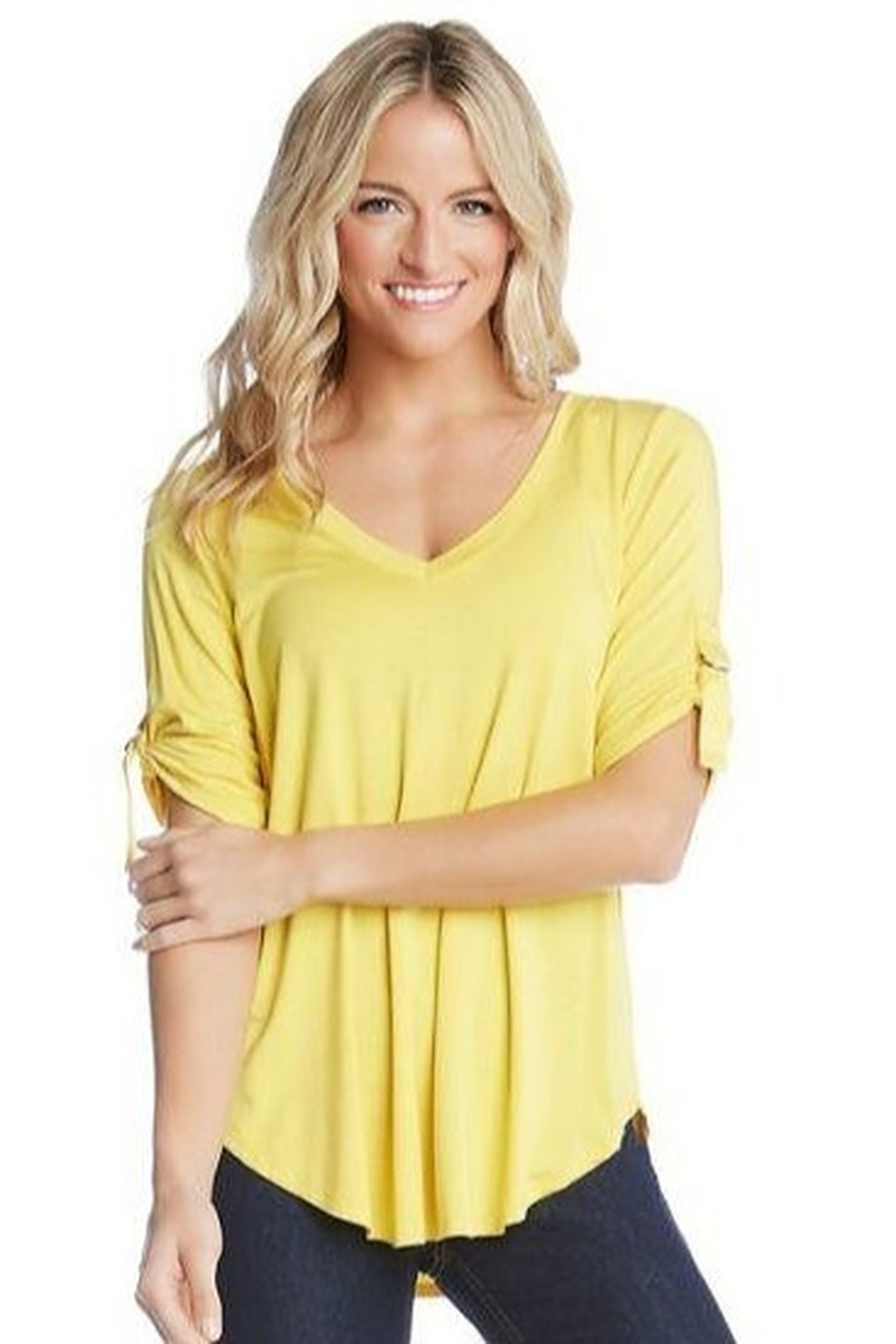 Karen Kane D Ring Detailed Top in Orange or Yellow - Front Cropped Image