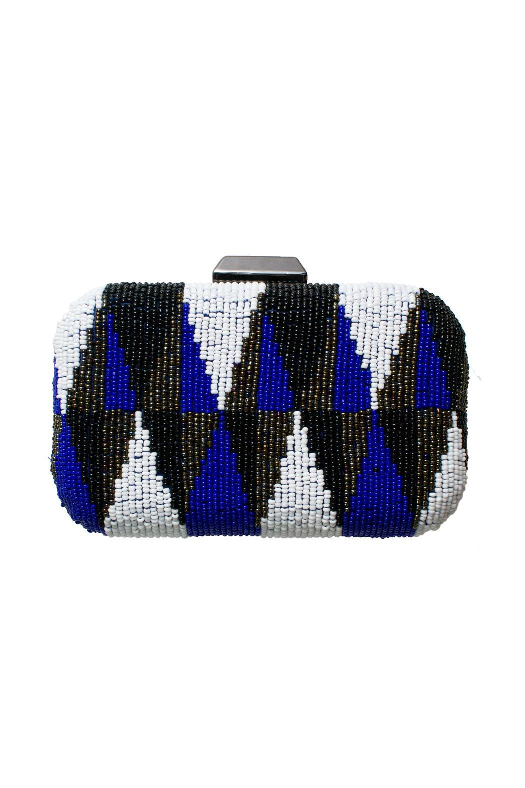 Brilliant-Blue Beaded Clutch - Main Image