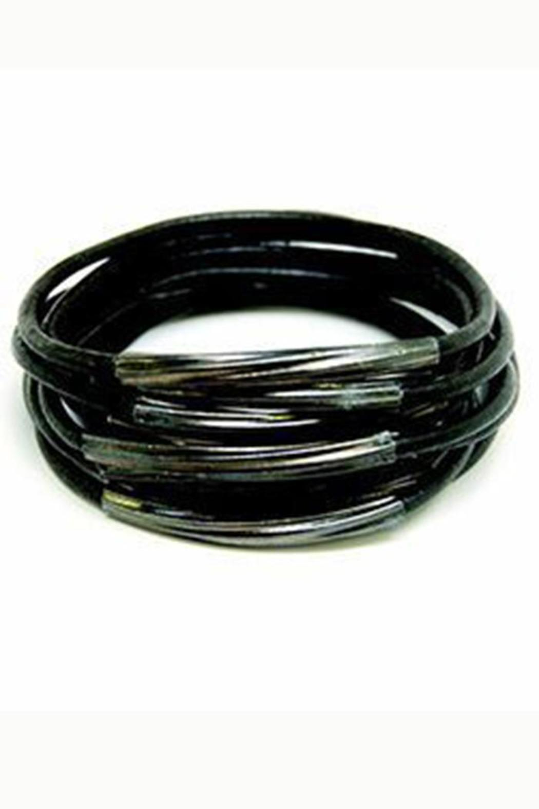 Made It! Gunmetal Leather Bangles - Front Cropped Image