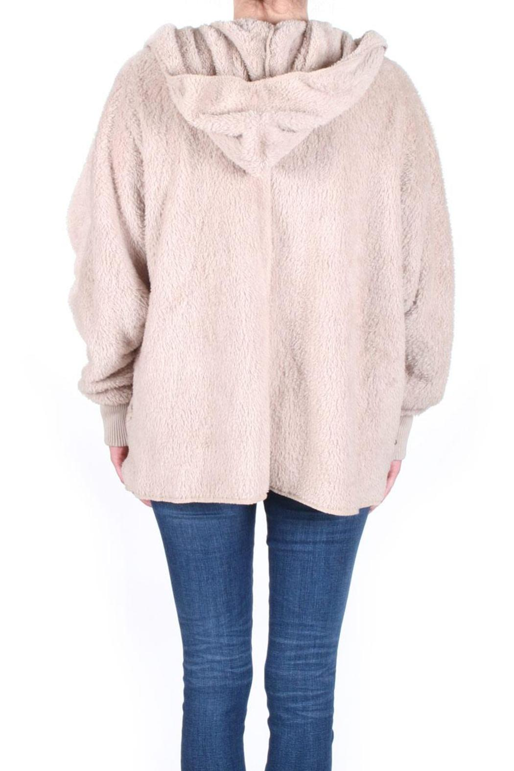 Honey Punch Fuzzy Hooded Jacket - Back Cropped Image