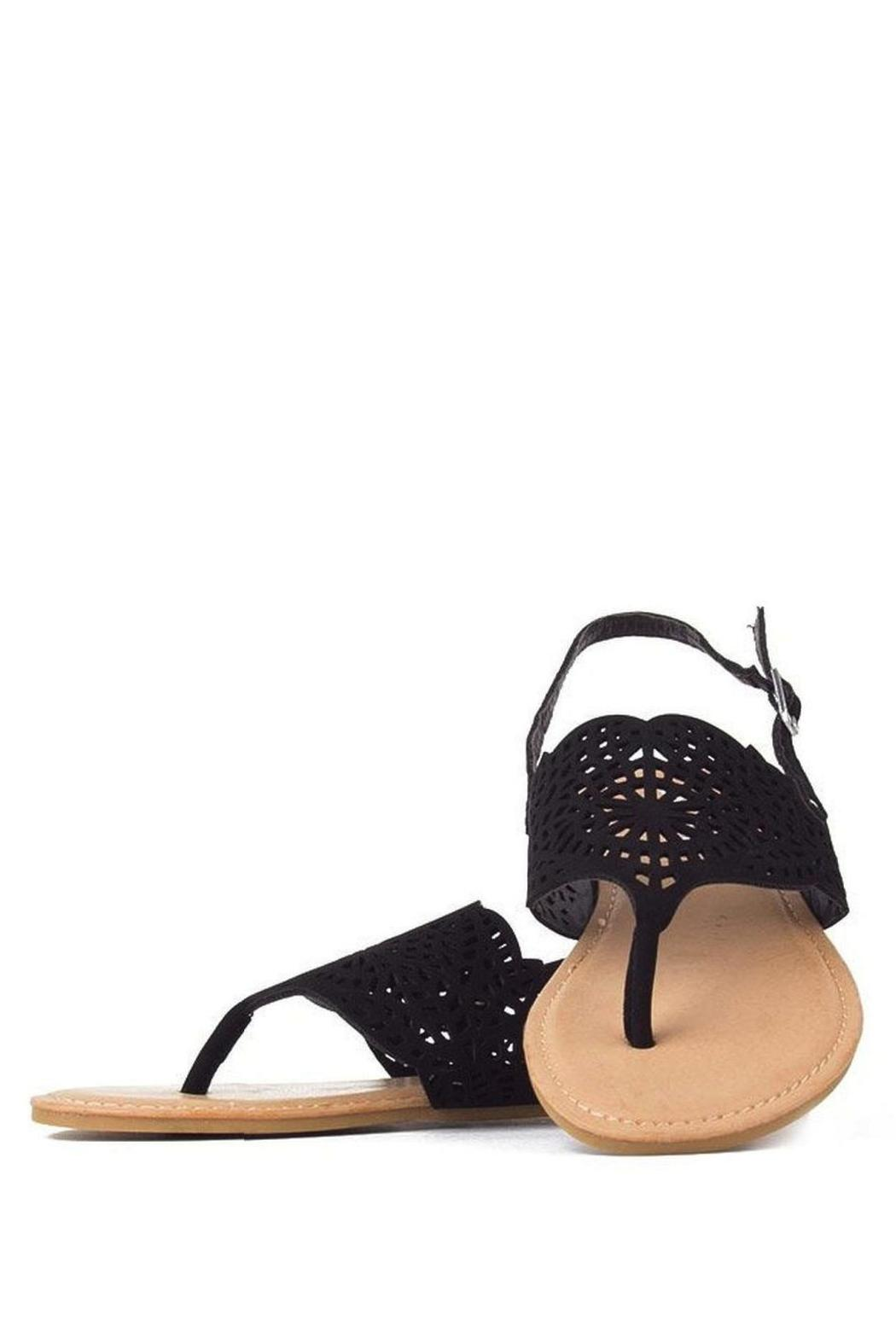 Bamboo Cut-Out Ankle-Strap Flat-Sandal - Front Full Image