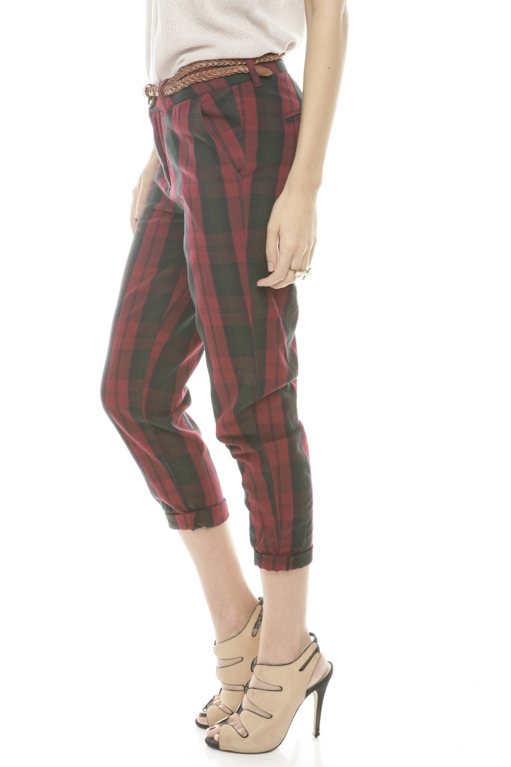 Rails Red Plaid Pants - Side Cropped Image