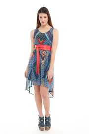 Yellow House Aztec Print Dress - Front full body