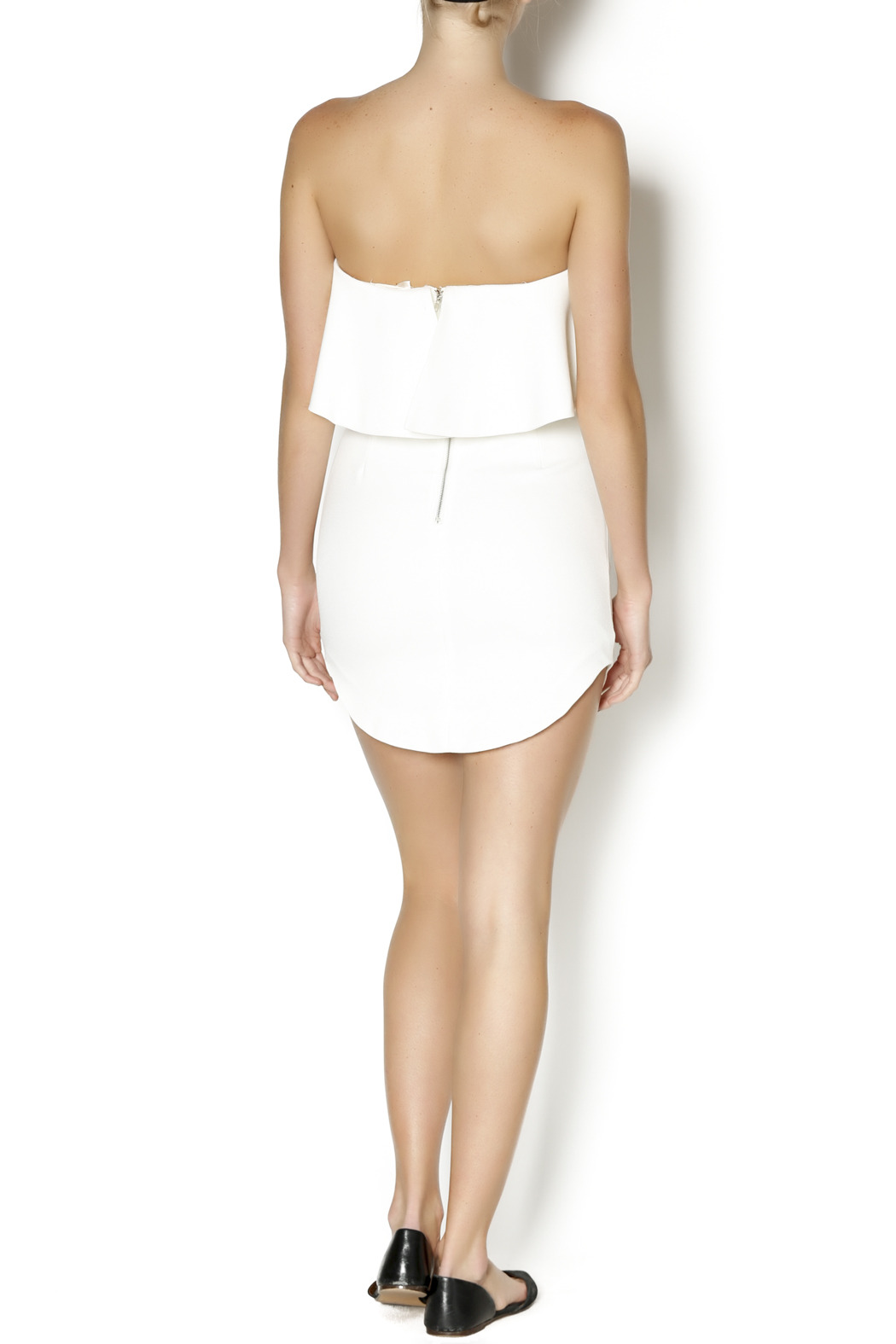 luxxel Tiered White Dress - Side Cropped Image