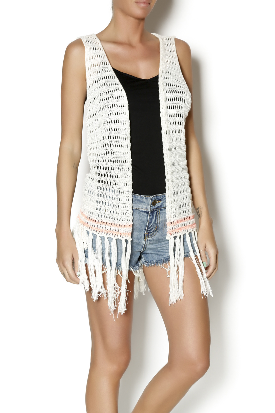 Blu Pepper Fringed Vest Cardigan from Asheville by Union — Shoptiques