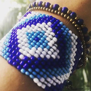 Shoptiques Blue Beaded Bracelet