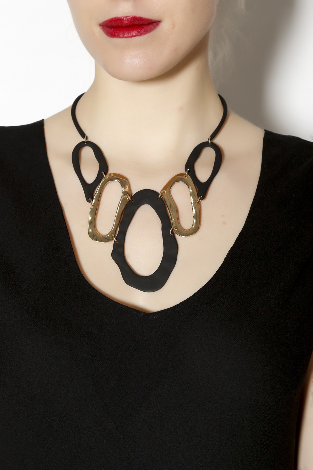 Portage Black and Gold Statement Necklace - Back Cropped Image