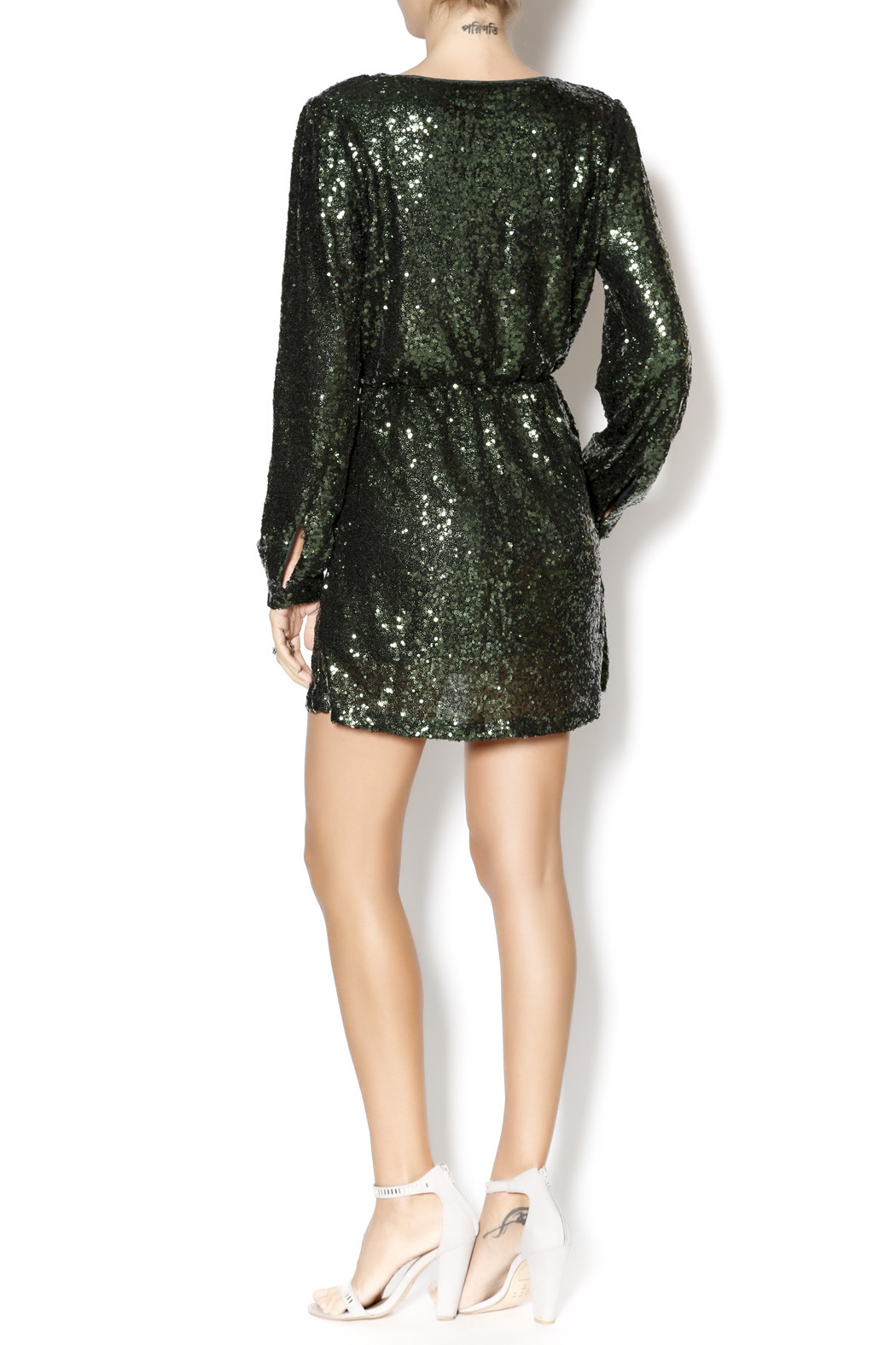 58bbd097bca2 Honey Punch Emerald Sequin Wrap Dress from Mississippi by LipChic ...
